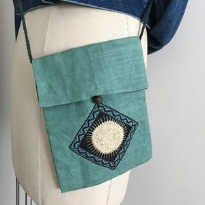 Vintage Mini Bohemian Bag Green Blue Yellow Sun